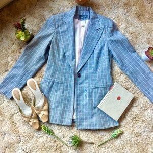 {Spiegel} One Button Pinstripe Grey Long Blazer, 6